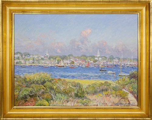 """Jan Pawlowski Oil On Canvas """"Panoramic View of the Town Of Nantucket From Monomoy"""""""