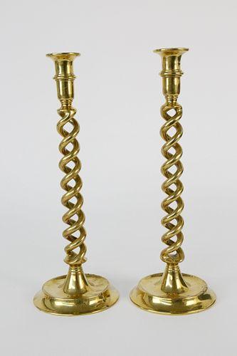 Pair of Vintage Brass Barley Twist Candlesticks