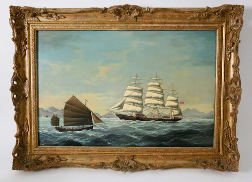 """Salvatore Colacicco Oil on Wood Panel, """"China Trade Shipping Scene"""""""