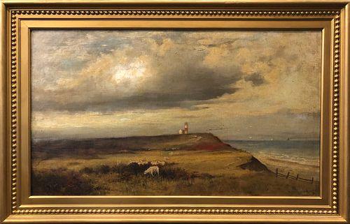 """William Ferdinand Macy Oil on Board """"Sankaty Head Nantucket"""", ca. 1885"""