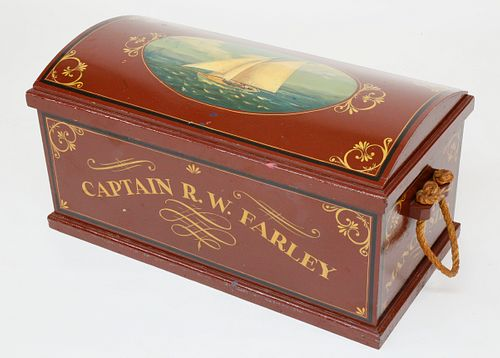 British Nautical Decorated Dome Top Trunk