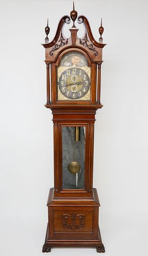 German Mahogany Tall Case Clock, ca. 1920-1940