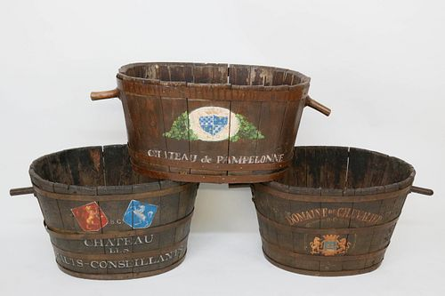 Three 19th Century French Chateau Grape Barrels