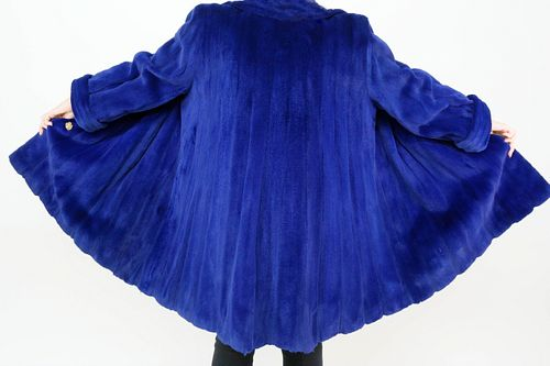Valentino Furs Cobalt Blue Sheared Mink Swing Coat