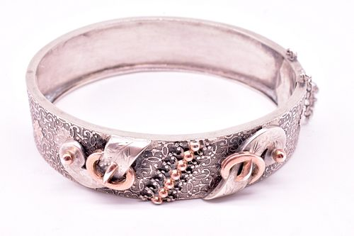 French Silver and Gold Vermeil Buckle Bangle, c1860