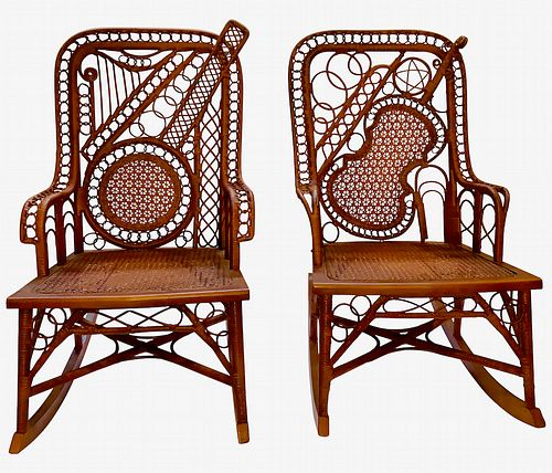 An Early Pair of Musically Inspired Wicker Rocking Chairs (Priced Per Item)