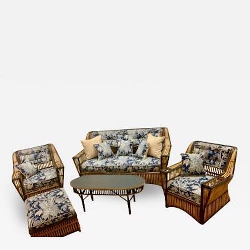 A Matched Seven Piece Suite of Rattan Furniture