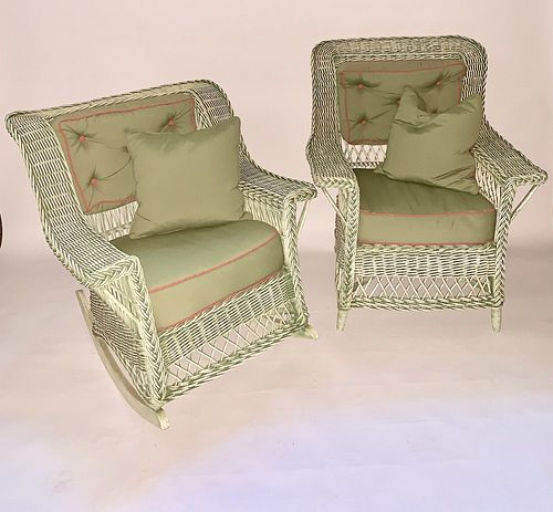 A Matching Heywood Wakefield Co.Rocker and Arm Chair