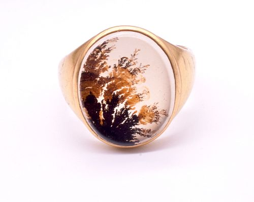 Victorian 18 Karat Moss Agate Dendritic Signet Ring, circa 1860