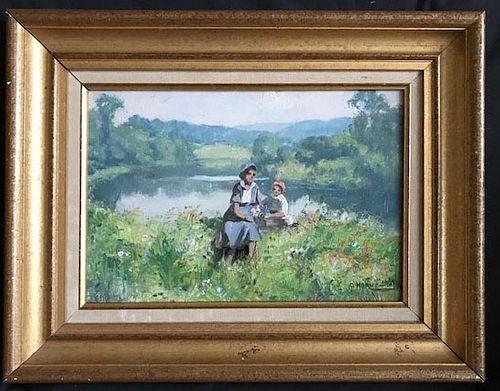 Jules Herve Charming Landscape: Mother & Child, Oil on Artist's Board