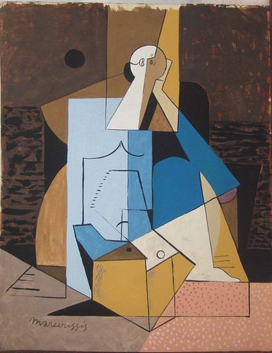 Abstract Cubist Figure: Gouache by Louis Marcoussis