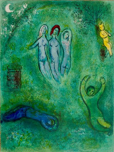 Marc Chagall: 'Daphnis and Chloé'. Original colour lithographs, 1961. Framed.