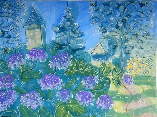 "Alan Halliday: "" Hydrangeas at Jardin Boysleve"", framed watercolour."