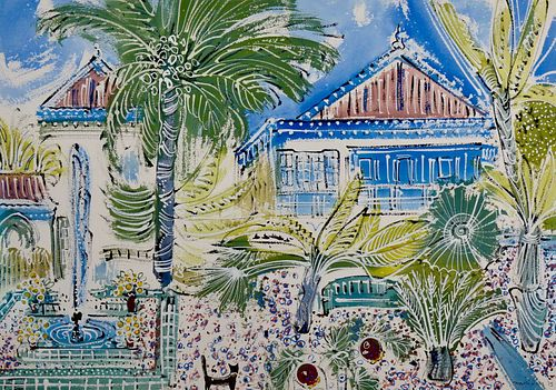 "Alan Halliday: ""Villa Oasis"", 2019. Large framed watercolour."