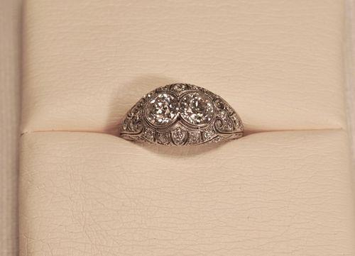 Double Diamond in Platinum Art Deco Ring