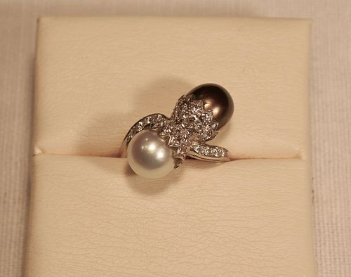 Double South Sea Pearl and Diamond Bypass Ring