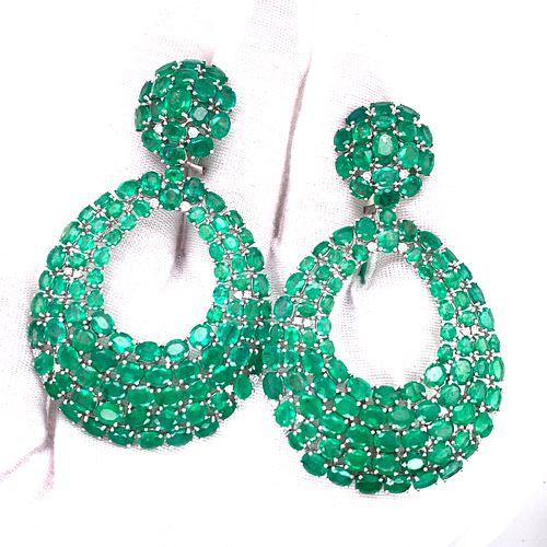 18K Emerald Diamond Big EarringsÊ