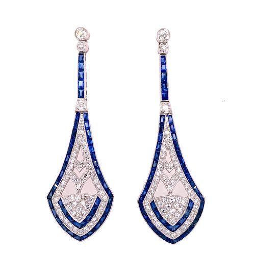 Art Deco Platinum Sapphire Diamond Earrings