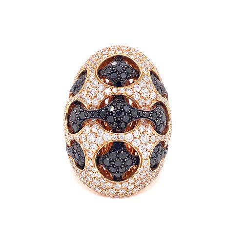 18K PALMIERO White & Black Diamond RingÊ