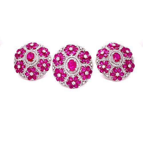 18K Ruby Diamond Ring & Earrings Set