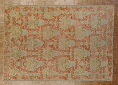 Antique Rug from Spain, Palmettos on Rust Field, Wool, 1900