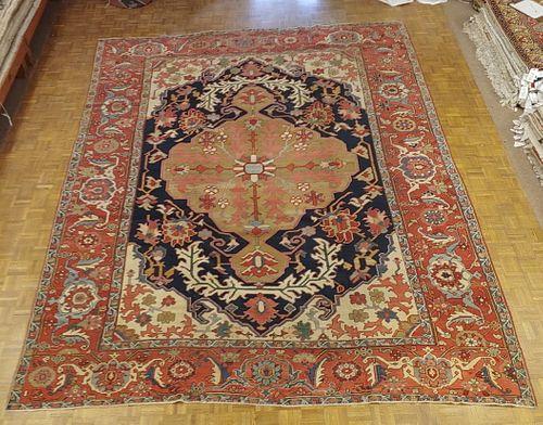 Antique Persian Serapi Rug 'Old Heriz', Navy Field, Wool, Room Size, 1890