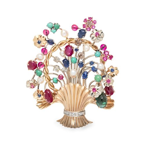 MULTIGEM AND DIAMOND GIARDINETTI BROOCH