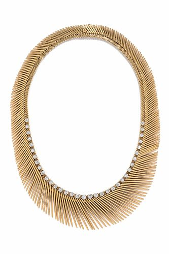 VAN CLEEF & ARPELS, YELLOW GOLD AND DIAMOND 'CHEVEUX D'ANGE' NECKLACE
