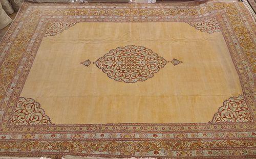 Palace Size Antique Turkish Sivas, Medallion Soft Gold Field Wool 1915, 13-10x19