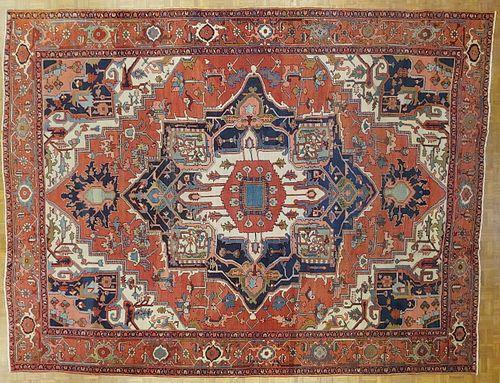 Antique Persian Serapi, Geometric Design, Rust & Navy, Room Size, Wool, 1900