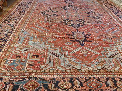 Antique Persian Heriz Rug, Palace, Rust and Light Blue, Size Decorative, 1910