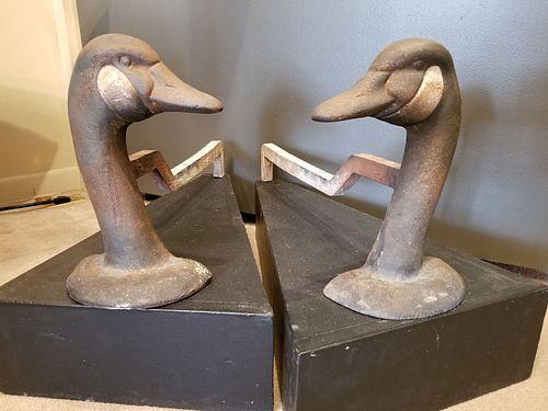Canada goose head andirons.