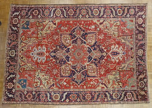 Antique Persian Heriz Rug, Rust Colored With Gold, Wool, Room Size