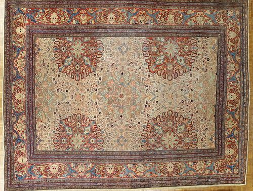 Antique Persian Fereghan Sarouk, Ivory Background Wool 1890 Room Size Rare