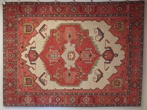 New Rug From Afghanistan, Serapi Design Superior Color & Drawing Wool, 9x12