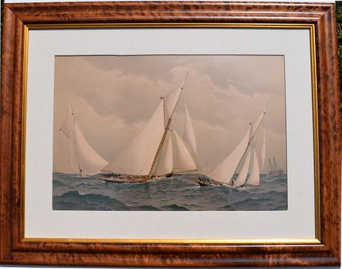 Frederic Cozzens framed yachting chromolithograph