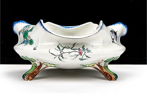 Art Nouveau French Creil Porcelain Center Bowl with Modèle Rousseau décor