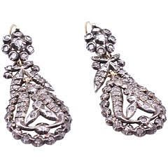 Circa 1820 Oval Drop French Pendaloque Cut Diamond Earrings - Courtesy The Spare Room