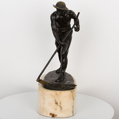 Bronze of a Man with Sythe  by E. Wagner