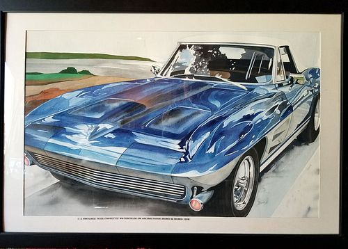 """Watercolor on arches paper """"Blue Corvette"""" - signed and dated 1978"""