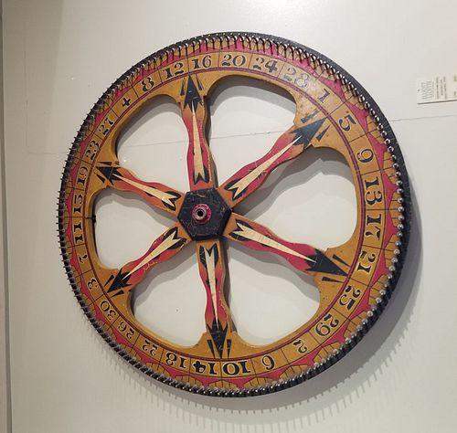 Late 19th century game wheel in original paint