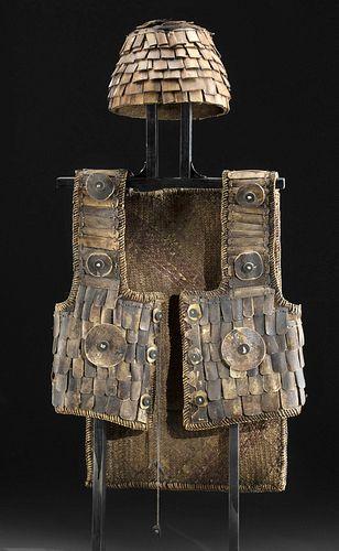 Early 20th C. Torajan Fiber, Wood & Bone Vest w/ Helmet
