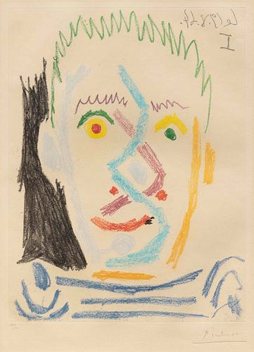 Pablo Picasso (Spanish, 1881-1973) Tete d'Homme au Maillot Raye, 1964