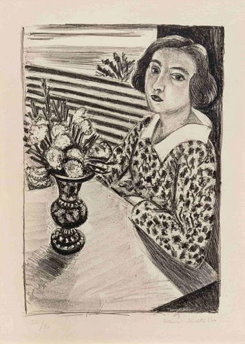 Henri Matisse (French, 1869-1954) Jeune Fille Assise au Bouquet de fleurs, 1923