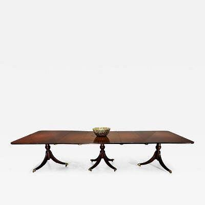 Mahogany late Regency, triple pedestal dining table