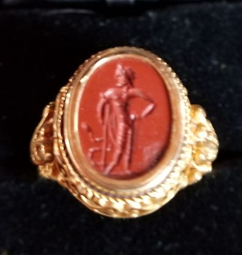 Poison ring of ancient jasper intaglio depicting Asclepius in 18k gold setting