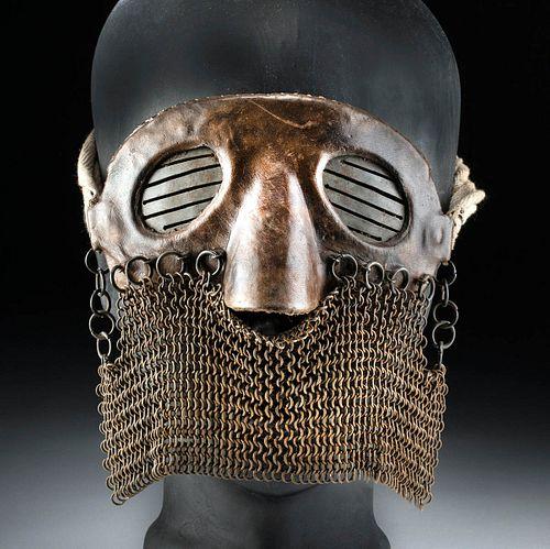 Western European WWI Leather & Iron Mail Splatter Mask