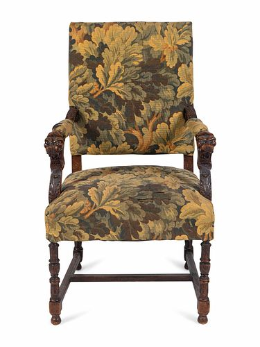 A Renaissance Style Tapestry-Upholstered Carved Walnut Great Chair Height overall 45 x width 26 inches.