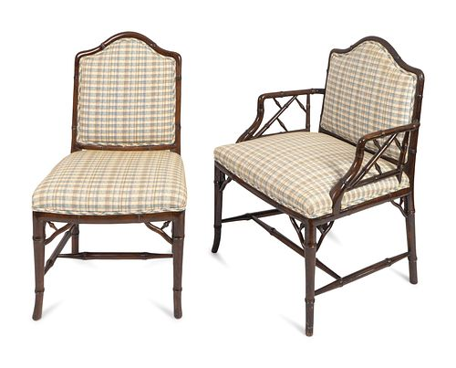 A Set of Ten Brighton Pavilion Style Faux Bamboo Dining Chairs Height 36 inches.