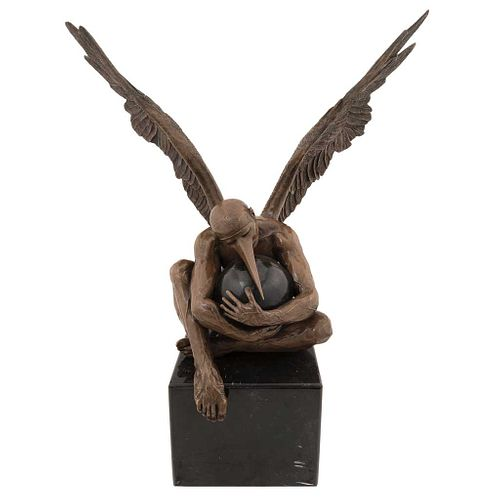 "JORGE MARÍN, Ángel grabado, Signed and dated 18, Bronze sculpture 2/8 on marble base, 31.4 x 28.3 x 14.1"" (80 x 72 x 36 cm), Certificate"